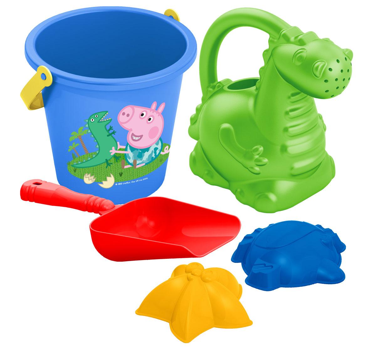 Peppa Pig Песочный набор №3 Свинка Пеппа30695Отправляясь на прогулку или на пляж со своим малышом, не забудьте взять с собой песочный набор Peppa Pig. Он поможет крохе создать из песка множество рыбок и морских звезд, построить песочные замки. Играть с любимыми персонажами мультфильма и удивительной леечкой в виде динозаврика так увлекательно! Игра с этим набором способствует развитию мелкой моторики, общей координации движений и, конечно же, воображения! В набор входят 5 предметов: ведерко, лейка в виде динозавра, совок, 2 формочки (морская звезда, рыбка). Игрушки выполнены из высококачественного безопасного пластика.
