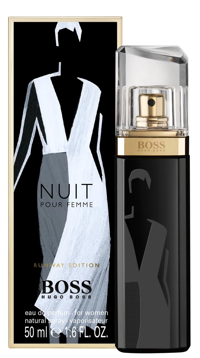 Hugo Boss Runway Nuit парфюмерная вода женская50 мл (лимитированный выпуск)0730870120071Бренд BOSS известен как в мире моды, так и в индустрии ароматов. Два этих мира соединяются в BOSS Woman Runway Edition - трилогию ароматов, которые переносят мир моды в парфюмерные магазины. Три характера, три образа, три аромата лимитированного выпуска, на каждом из которых появляется эскиз знакового предмета из мира моды - дневного платья, смокинга и вечернего наряда - вдохновлены дебютной коллекцией креативного директора BOSS Womenswear Джейсона Ву. Каждый из ароматов воплощает эти безупречно скроенные образы в парфюмерной композиции. BOSS JOUR Pour Femme - легкий и светлый аромат, воплощение дневного образа, созданного с помощью элегантного шелкового платья цвета слоновой кости. В композиции звучит женственный букет цитрусовых нот и белых цветов апельсина, подчеркивающих свежесть и радость утра.