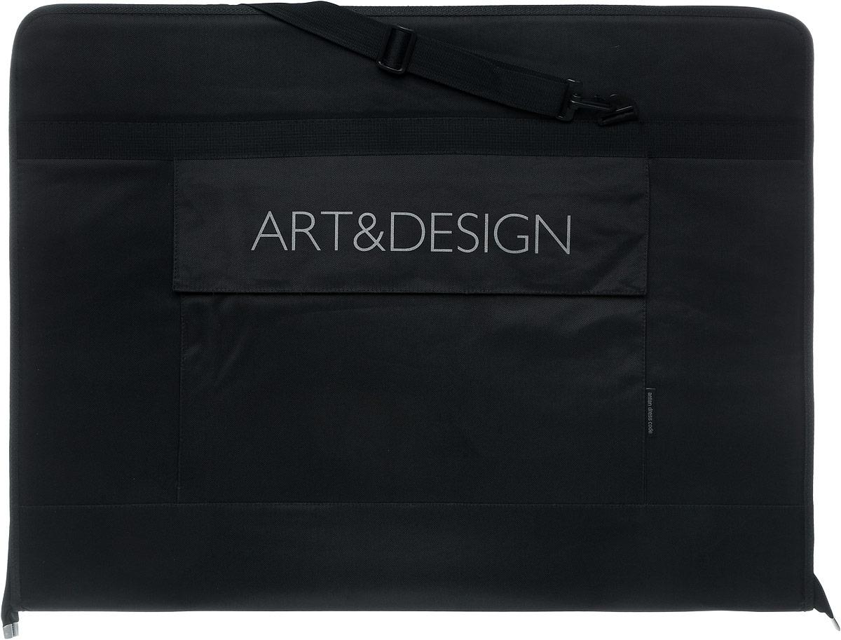 Папка художника Аntan Art&Design, цвет: черный. 6-24/36-24Папка художника Аntan выполнена из высококачественного полиэстера и оформлена фирменной надписью. Папка оснащена удобными ручками и съемным плечевым ремнем, длина которого регулируется с помощью пряжки. На лицевой стороне расположен один накладной карман, закрывающийся клапаном на застежку-липучку. Внутри расположено главное отделение, которое содержит четыре эластичные резинки на липучках. Изделие закрывается на застежку-молнию.