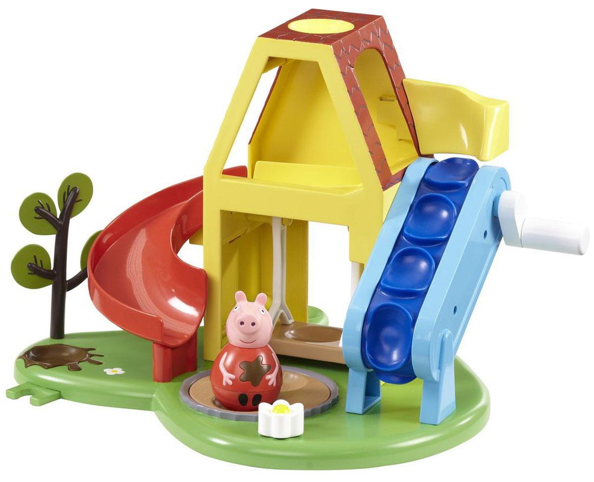 Peppa Pig Игровой набор Площадка Пеппы-неваляшки28795Приглашаем на площадку Пеппы-неваляшки! Покрутите фигурку на столе или полу, и она затанцует, закрутится, закачается в разные стороны и даже не подумает упасть. А теперь покачайте ее на качелях. И самое интересное! Поставьте неваляшку в углубление подъемника. Крутя ручку, поднимите ее наверх, и она, попав в домик, весело скатится с горки, приземлившись в песочницу. Затем покрутите рычажок-цветочек - песочница закрутится, и Пеппа, покачиваясь, закружится в веселом танце. На зеленой цветочной полянке растет дерево и есть лужа, в которой Пеппа обожает прыгать. На площадке имеется много углублений для размещения неваляшек. Такая сказочная игрушка обязательно приведет в восторг вашего ребенка. Элементы игрового набора Peppa Pig Площадка Пеппы-неваляшки выполнены из безопасного материала. Набор совместим с фигурками друзей Пеппы из серии Weebles.
