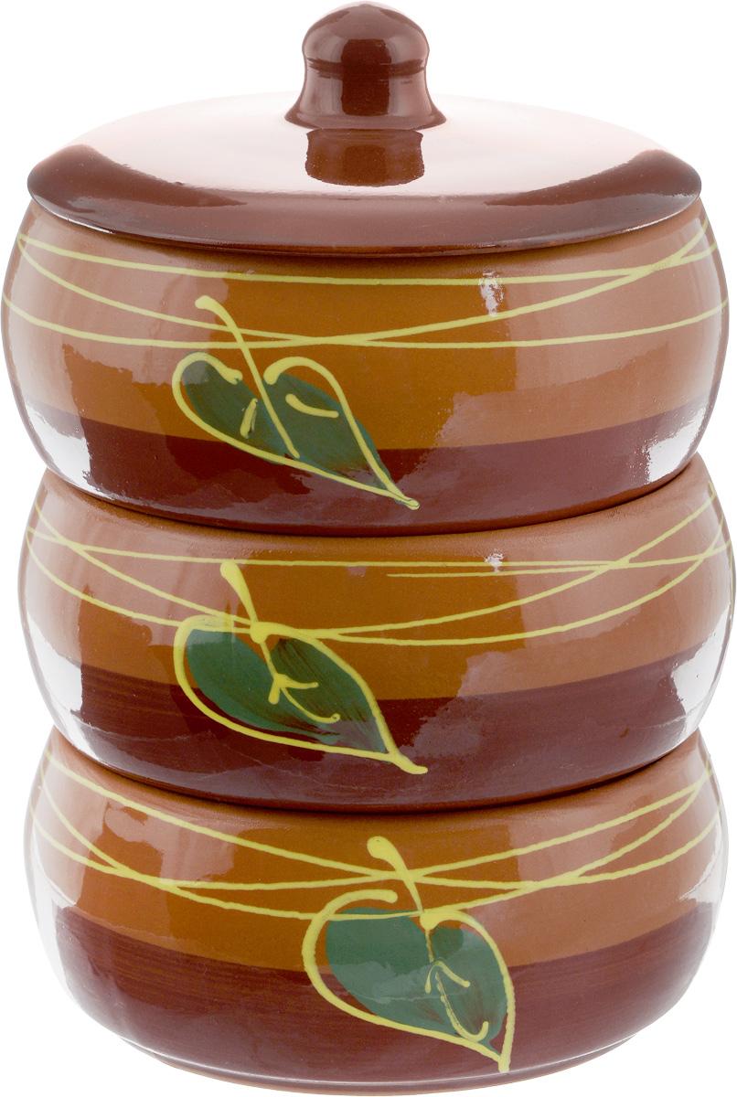 Набор блюд для холодца Борисовская керамика Русский, с крышкой, цвет: коричневый, 900 мл, 3 штОБЧ00000911_листок коричневыйБлюда для холодца Борисовская керамика Русский, изготовленные из высококачественной керамики, предназначены для приготовления и хранения заливного или холодца. В комплект входит керамическая крышка. Также блюда можно использовать для приготовления и хранения салатов. Изделия оформлены оригинальным рисунком. Такие блюда украсят сервировку вашего стола и подчеркнут прекрасный вкус хозяйки. Диаметр блюда: 15,5 см. Высота блюда: 8 см. Объем одного блюда: 900 мл.