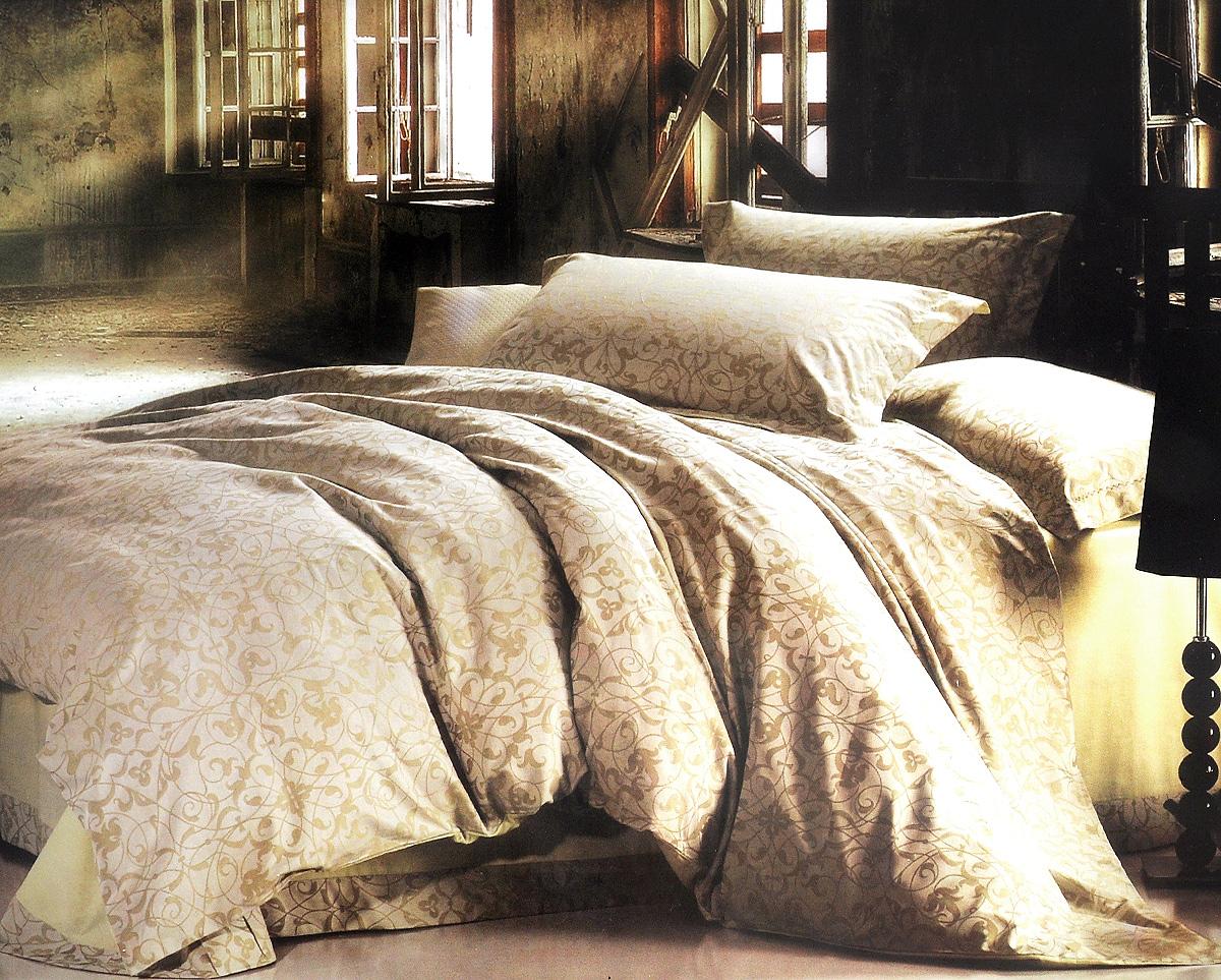 Комплект белья Arya Cassia, 2-х спальный, наволочки 70х70, 50х70, цвет: светло-бежевый, светло-зеленыйF0007389_бежевыйРоскошный комплект постельного белья Arya Cassia состоит из пододеяльника, простыни и четырех наволочек, выполненных из жаккарда (100% хлопок). Жаккард - это ткань с уникальным рисунком, который создают на специальном станке. Из-за сложного плетения эта ткань довольно жесткая, поэтому используют ее только для верхней стороны пододеяльника и наволочек. Благодаря такому комплекту постельного белья вы создадите неповторимую атмосферу в вашей спальне.