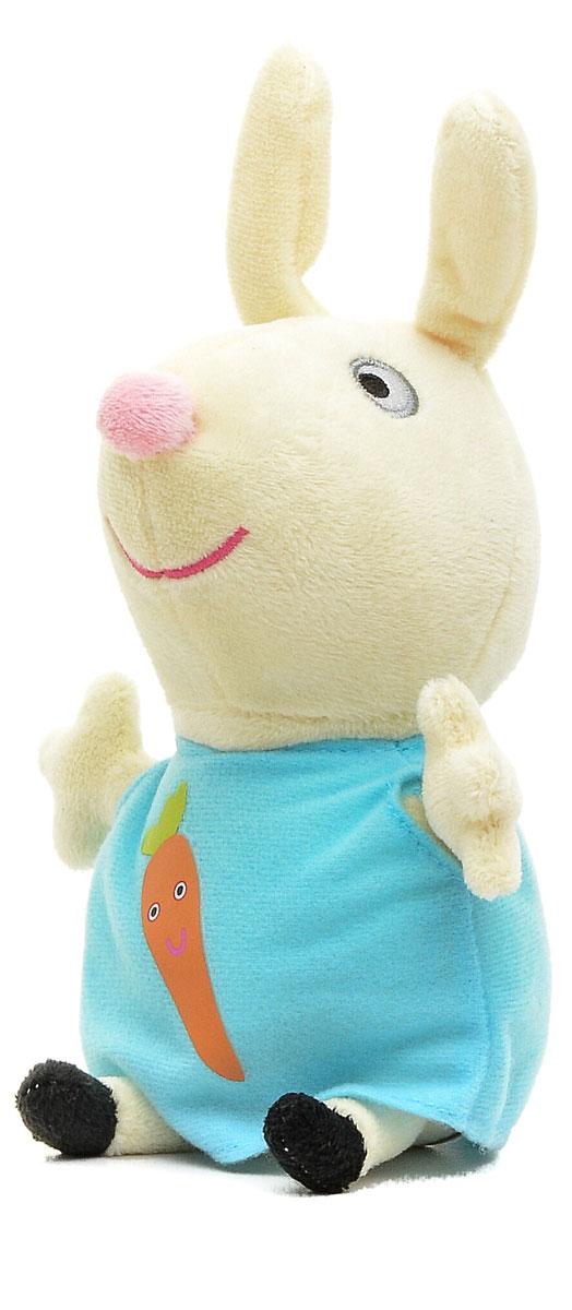 Peppa Pig Мягкая игрушка Ребекка с морковкой 20 см29624Ваш ребенок любит мультфильм Свинка Пеппа? Тогда он обязательно оценит мягкую игрушку Peppa Pig в виде Кролика Ребекки, с которой можно весело играть, развивая навыки общения и воображение. С любимой игрушкой малыш будет делиться своими маленькими секретиками и безмятежно спать ночью - ведь в обнимку с плюшевым другом сон гораздо слаще! Мягкая игрушка очень приятна на ощупь, так как изготовлена из нежной велюровой ткани и плотно набита. Глазки, носик и ротик Ребекки выполнены в виде плотной вышивки, а на ее платьице красуется яркая аппликация в виде морковки.