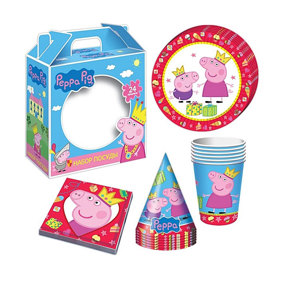 Peppa Pig Набор бумажной посуды и аксессуаров Пеппа-принцесса 24 предмета28567С набором одноразовой посуды и аксессуаров Peppa Pig Пеппа-принцесса день рождения ребенка станет по-настоящему незабываемым! Красочный дизайн с веселой свинкой поднимет настроение всем: и детям, и даже взрослым. Колпачки помогут организовать множество увлекательных игр. А красивая посуда и салфетки украсят стол и принесут практическую пользу: одноразовые тарелки и стаканы почти невесомы, не могут разбиться, их не надо мыть. Выполненная из бумаги, такая посуда абсолютно безопасна и, благодаря специальному покрытию, прекрасно удерживает еду и напитки. В наборе 24 предмета на 6 персон: 6 тарелок диаметром 18 см, 6 стаканов объемом 210 мл, 6 бумажных колпачков на резинках, 6 бумажных салфеток.