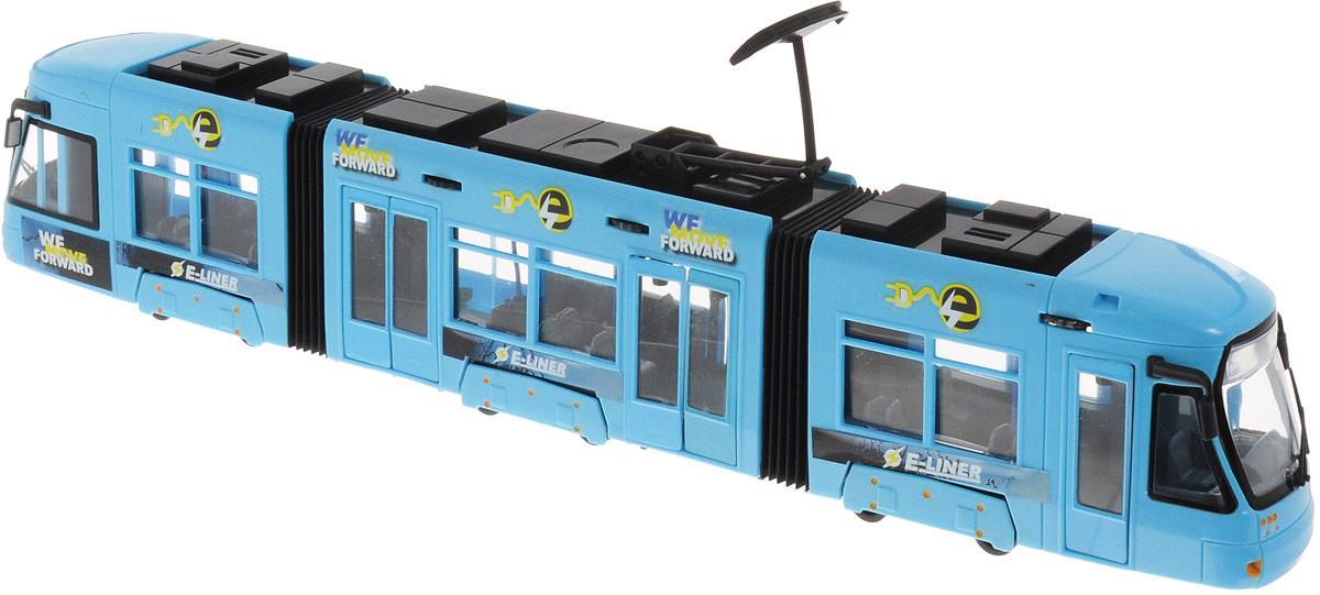 Dickie Toys Трамвай City Liner цвет голубой3829000_голубойГородской трамвай Dickie Toys City Liner привлечет внимание вашего ребенка и не позволит ему скучать. Игрушка является уменьшенной копией настоящего трамвая с гибкой гармошкой. Трамвай оснащен открывающимися с помощью колесиков дверьми, поднимающимся полупантографом и колесами со свободным ходом. Внутри салона расположены ряды пассажирских кресел. Остается только подобрать фигурки, подходящие по размеру, - и можно отправляться в увлекательное путешествие! Ваш ребенок будет часами играть с трамваем, воспроизводя различные истории из городской жизни. Порадуйте его таким замечательным подарком!