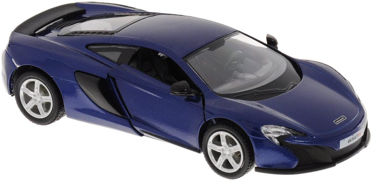Uni-Fortune Toys Модель автомобиля McLaren 650S цвет синий554992_синийМодель автомобиля Uni-Fortune Toys McLaren 650S создана для тех, кто любит роскошь и высокие скорости. Благодаря броской внешности, а также великолепной точности, с которой создатели этой масштабной модели передали внешний вид настоящего автомобиля, машинка станет подлинным украшением любой коллекции авто. Машинка будет долго служить своему владельцу благодаря металлическому корпусу с элементами из пластика. Двери машины открываются. Модель оснащена инерционным ходом. Машинку необходимо отвести назад, слегка надавив на крышу, затем отпустить - и игрушка быстро поедет вперед. Шины обеспечивают отличное сцепление с любой поверхностью пола. Модель автомобиля McLaren 650S понравится вашему ребенку и станет достойным экспонатом любой коллекции.