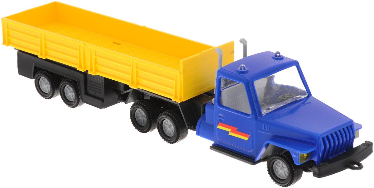 Форма Автоприцеп Урал цвет голубой желтыйС-12-Ф_синий/жёлтыйАвтоприцеп Урал от компании Форма - это замечательная игрушка для маленьких любителей грузовых машинок. Игрушка представляет собой мощный грузовик Урал, предназначенный для перевозки крупногабаритного груза, такого, как бревна. Колеса машинки и прицепа свободно вращаются, прицеп поворачивается. Машинка подойдет для сюжетно-ролевой игры. Такой машинкой можно играть как дома, так и на улице.