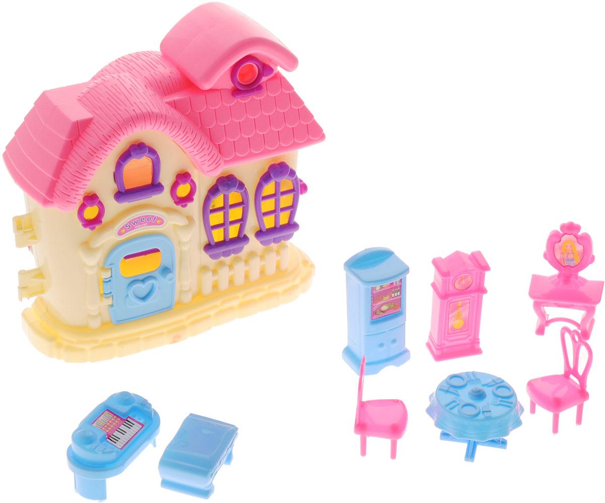 ABtoys Дом для кукол цвет желтый розовыйPT-00388_жёлтый/розовыйШикарный дом для маленьких кукол ABtoys привлечет внимание вашей малышки и не позволит ей скучать. Комплект включает в себя пластиковый домик, холодильник, напольные часы, фортепиано, туалетный столик, 2 стула, стол и банкетку. Прекрасный домик оснащен окошками и открывающейся дверью. Набор поможет детям представить себя в роли дизайнера, занимающегося обстановкой и декором помещения для любимой куколки, а также станет главным атрибутом для увлекательных сюжетно-ролевых игр. Такой набор непременно придется по душе вашему ребенку. Порадуйте свою принцессу таким замечательным подарком!