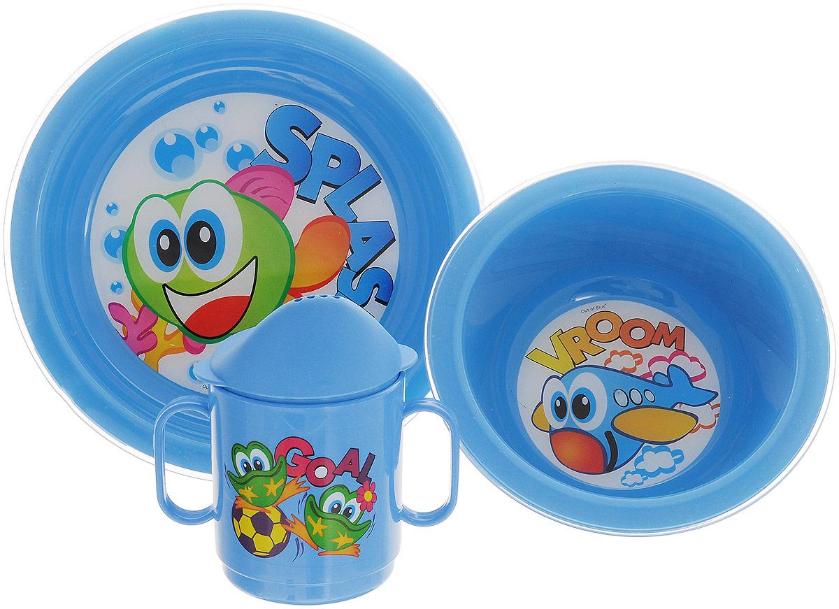 Cosmoplast Набор детской посуды Baby Tris Set 3 предмета цвет голубой2548_голубойНабор детской посуды Cosmoplast Baby Tris Set состоит из суповой тарелки, обеденной тарелки и чашки-поильника. Все предметы набора изготовлены из высококачественного пищевого пластика по специальной технологии, которая гарантирует простоту ухода, прочность и безопасность изделий для детей. Предметы сервиза оформлены красочными рисунками, которые обязательно понравятся вашему малышу. Объем кружки: 250 мл. Не содержит бисфенол А.