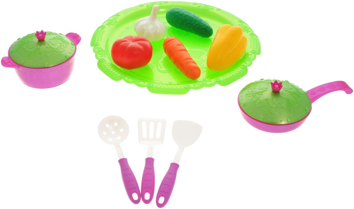 Нордпласт Набор овощей и кухонной посуды Волшебная хозяюшка цвет салатовый фуксия 13 предметов