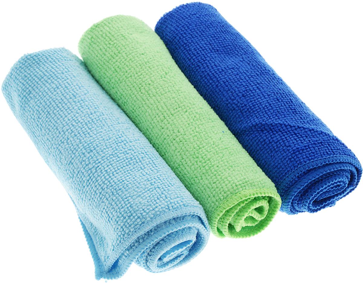 Набор салфеток для уборки Sol, из микрофибры, цвет: синий, салатовый, голубой, 30 x 30 см, 3 шт10035_синий, салатовый, голубойНабор салфеток Sol выполнен из микрофибры. Микрофибра - это ткань из тонких микроволокон, которая эффективно очищает поверхности благодаря капиллярному эффекту между ними. Такая салфетка может использоваться как для сухой, так и для влажной уборки. Деликатно очищает любые поверхности, не оставляя следов и разводов. Идеально подходит для протирки полированной мебели. Сохраняет свои свойства после стирки. Размер салфетки: 30 х 30 см.