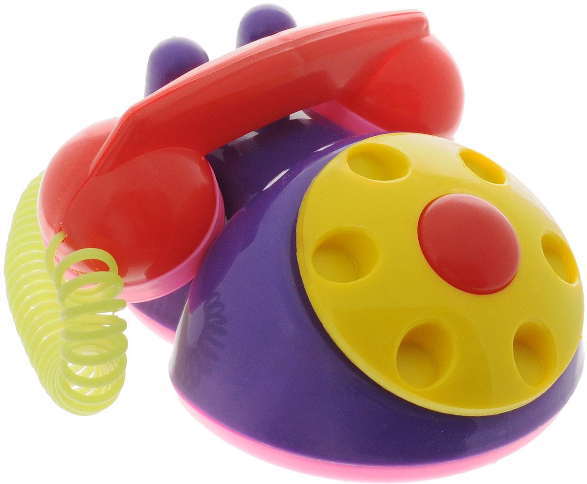 Аэлита Детский телефон цвет фиолетовый желтый2С454_фиолетовыйЯркий детский телефон Аэлита не оставит вашего малыша равнодушным и не позволит ему скучать! Игрушка представляет собой старинный дисковый аппарат с пружинным проводом, идущим к трубке. Небольшая трубка очень удобна для детских рук по размерам. Диск крутится с мелодичным звоном, пружинный провод легко растягивается и собирается обратно. Яркие цвета игрушки направлены на развитие мыслительной деятельности, цветового восприятия, тактильных ощущений и мелкой моторики рук ребенка, а звуковой элемент набора номера на телефоне способствует развитию слуха.