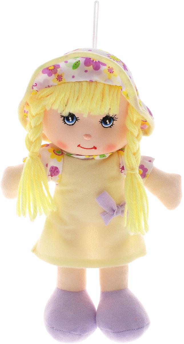 Little You Мягкая кукла Кейт цвет платья желтыйF90716-10_желтый, сиреневыйМягкая кукла Little You Кейт будет прекрасным подарком для самых маленьких девочек. Кукла одета в желтое платье с фиолетовым бантиком и белую панамку с цветочным принтом. Желтые нитяные волосы, собранные в две косички, заинтересуют своей необычностью. Кукла выполнена в нежных и спокойных тонах - это положительно влияет на эмоциональное состояние ребенка. Разнофактурные материалы игрушки поддерживают развитие сенсорной моторики ребенка. Кукла улыбается, у нее милые вышитые глазки. Мягкая кукла Little You станет настоящим другом для вашей маленькой принцессы.