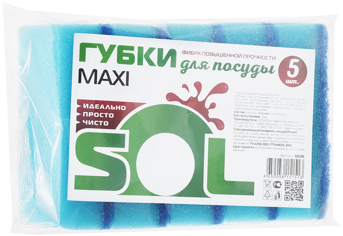 Губка для мытья посуды Sol Maxi, цвет: голубой, 5 шт10026_голубойГубки Sol Maxi предназначены для мытья посуды и других поверхностей. Выполнены из поролона и абразивного материала. Мягкий слой используется для деликатной чистки и способствует образованию пены, жесткий - для сильных загрязнений. Жесткий слой не рекомендуется применять для деликатных поверхностей и посуды с тефлоновым покрытием. Размер губки: 7 х 8,5 х 2,5 см.