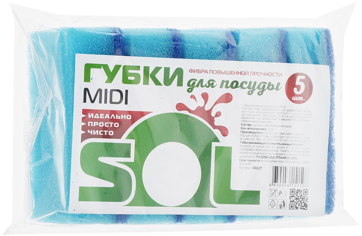 Губка для мытья посуды Sol Midi, цвет: голубой, 5 шт10027_голубойГубки Sol Midi предназначены для мытья посуды и других поверхностей. Выполнены из поролона и абразивного материала. Мягкий слой используется для деликатной чистки и способствует образованию пены, жесткий - для сильных загрязнений. Размер губки: 5 х 8 х 2,5 см.