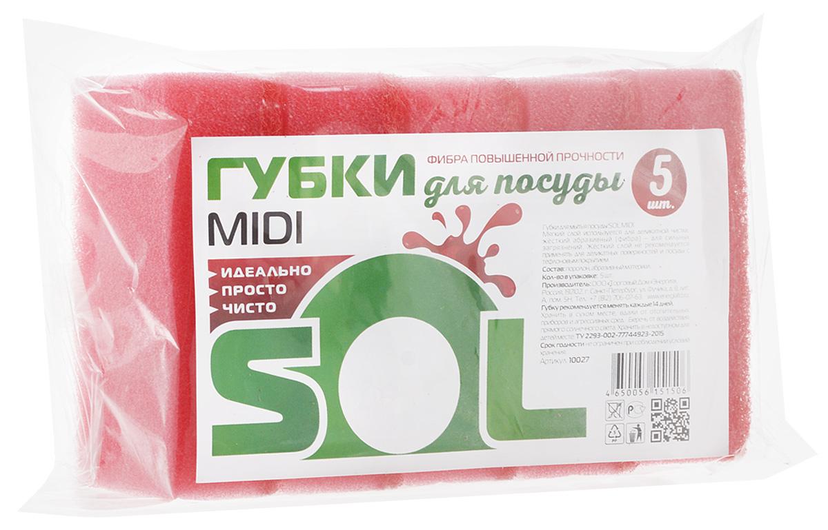 Губка для мытья посуды Sol Midi, цвет: розовый, 5 шт10027_розовыйГубки Sol Midi предназначены для мытья посуды и других поверхностей. Выполнены из поролона и абразивного материала. Мягкий слой используется для деликатной чистки и способствует образованию пены, жесткий - для сильных загрязнений. Размер губки: 5 х 8 х 2,5 см.