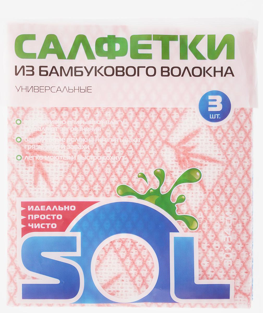 Салфетка для уборки Sol, из бамбукового волокна, цвет: розовый, голубой, 30 x 34 см, 3 шт10001/70007_розовый/голубойСалфетки Sol, выполненные из бамбукового волокна, вискозы и полиэстера, предназначены для уборки. Бамбуковое волокно - экологичный и безопасный для здоровья человека материал, не содержащий в своем составе никаких химических добавок, синтетических материалов и примесей. Благодаря трубчатой структуре волокон, жир и грязь не впитываются в ткань, легко вымываются под струей водой. Рекомендации по уходу: Бамбуковые салфетки не требуют особого ухода. После каждого использования их рекомендуется промыть под струей воды и просушить. Не рекомендуется сушить салфетки на батарее. Размер салфетки: 30 х 34 см.