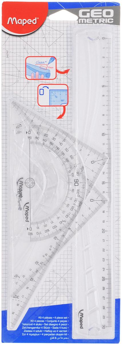 Maped Геометрический набор цвет прозрачный 4 предмета242767_прозрачныйГеометрический набор Maped, выполненный из прозрачного пластика, можно носить повсюду, не опасаясь сломать. Все чертежные инструменты сгибаются в любом направлении, а после непродолжительного времени принимают первоначальную форму и не деформируются. Состоит набор из четырех предметов: линейки на 30 сантиметров, транспортира на 180 градусов и двух треугольников. Один треугольник с углами 45, 45, 90 градусов, две стороны угольника представляют собой линейки на 14 сантиметров. Второй угольник с углами 30, 60, 90 градусов и линейками на 20 и 11 сантиметров. Нулевая отметка расположена в вершине угольников, что позволяет измерять и чертить одновременно. Разметка шкалы нанесена на внутреннюю поверхность чертежных принадлежностей, что предотвращает ее истирание. Легко читаемая двусторонняя шкала - выделены каждые 5 см. Каждый чертежный инструмент имеет свои функциональные особенности, что делает работу с ними особенно удобной и легкой.