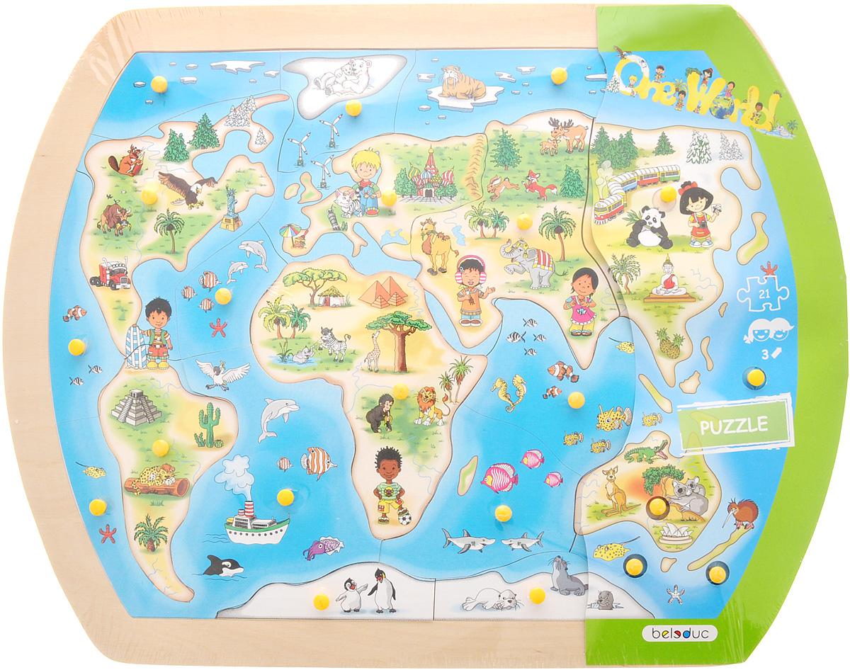 Beleduc Пазл для малышей Один большой мир 1015110151Пазл для малышей Beleduc Один большой мир сформирует у детей первое представление о нашей планете и о людях, живущих на разных континентах. Пазл состоит из 21 детали разных форм. Ваш малыш будет постепенно знакомится с этими формами. Пазл выполнен из качественного и безопасного материала - дерева. Такая игра развивает логическое мышление, внимание, память, воображение. Учит правильно воспринимать связь между частью и целым и развивает мелкую моторику рук.