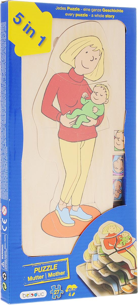 Beleduc Пазл для малышей Мамочка 5 в 117024Пазл для малышей Beleduc Мамочка. 5 в 1 - это развивающая игрушка, с помощью которой ваш ребенок узнает об этапах появления на свет. Как развивается беременность и формируется ребенок в утробе матери? Зачастую родителям бывает трудно объяснить ребенку эти процессы. Этот пазл даст ответ на вопрос откуда берутся дети, проиллюстрирует развитие малыша в животе мамы и покажет физические изменения тела женщины.Задача ребенка - собрать не только части каждого пазла, но и сложить слоями все пазлы в правильной последовательности. Пазл для малышей Beleduc Мамочка. 5 в 1 развивает познавательные и ассоциативные навыки, способность комбинировать, логическое и образное мышления, развивает мелкую моторику рук.