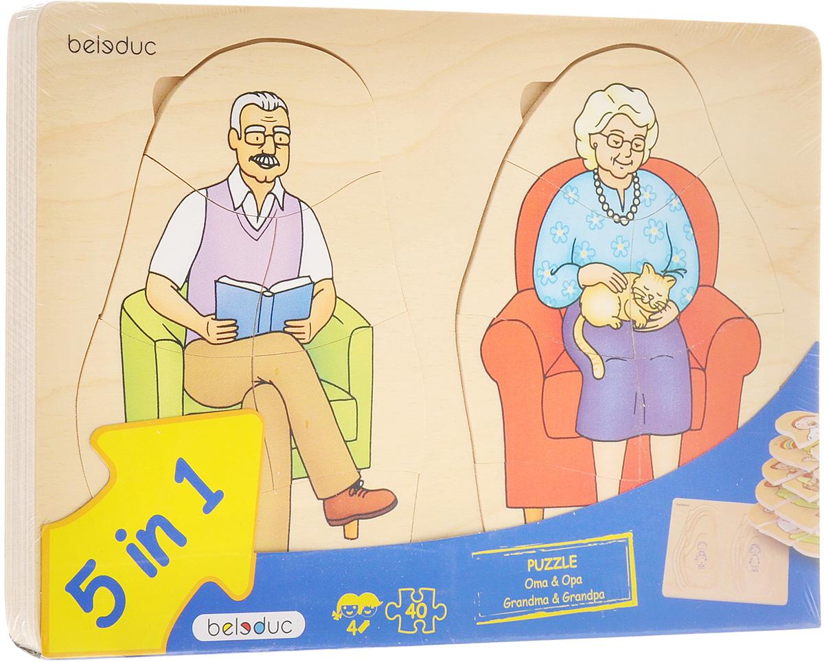 Beleduc Пазл для малышей Дедушка и бабушка 5 в 117052Пазл для малышей Beleduc Дедушка и бабушка. 5 в 1 - это развивающая игрушка, с помощью которой ваш ребенок узнает об этапах взросления человека - от младенчества до старости. Задача ребенка - собрать не только части каждого пазла, но и сложить слоями все пазлы в правильной последовательности. В процессе игры дети весело и легко познают этапы взросления. Пазл для малышей Beleduc Дедушка и бабушка. 5 в 1 развивает познавательные и ассоциативные навыки, способность комбинировать, логическое и образное мышления, развивает мелкую моторику рук.