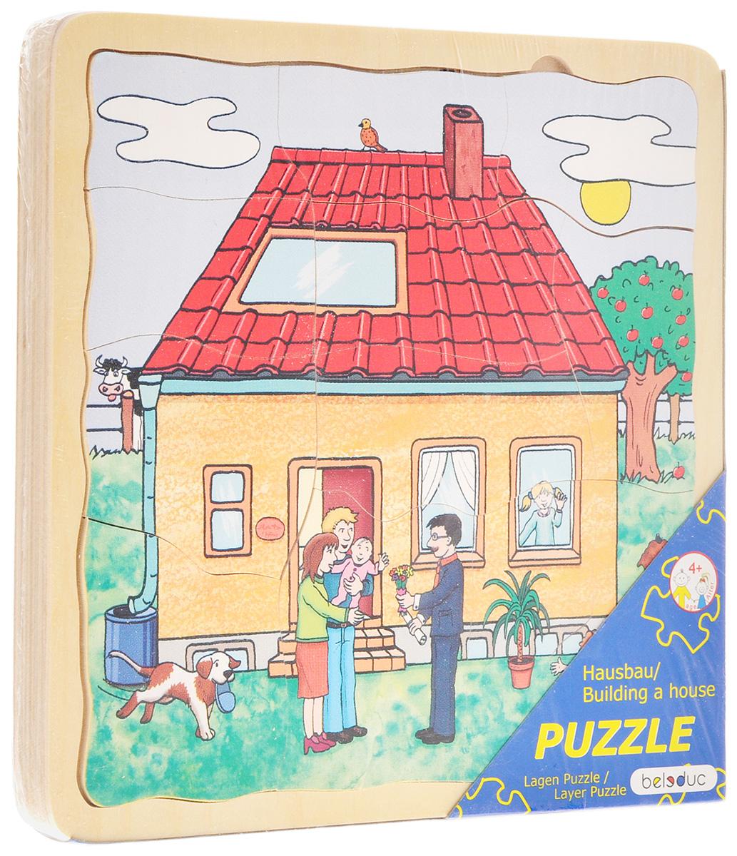 Beleduc Пазл для малышей Строим дом17036Пазл для малышей Beleduc Строим дом продемонстрирует вашему ребенку как строится дом - от закладки фундамента до его полной готовности. Пазл состоит из 40 деталей разных форм. Задача ребенка - собрать не только части каждого пазла, но и сложить слоями все пазлы в правильной последовательности. Пазл выполнен из качественного и безопасного материала - дерева. Такая игра развивает логическое мышление, внимание, память, воображение. Учит правильно воспринимать связь между частью и целым и развивает мелкую моторику рук.