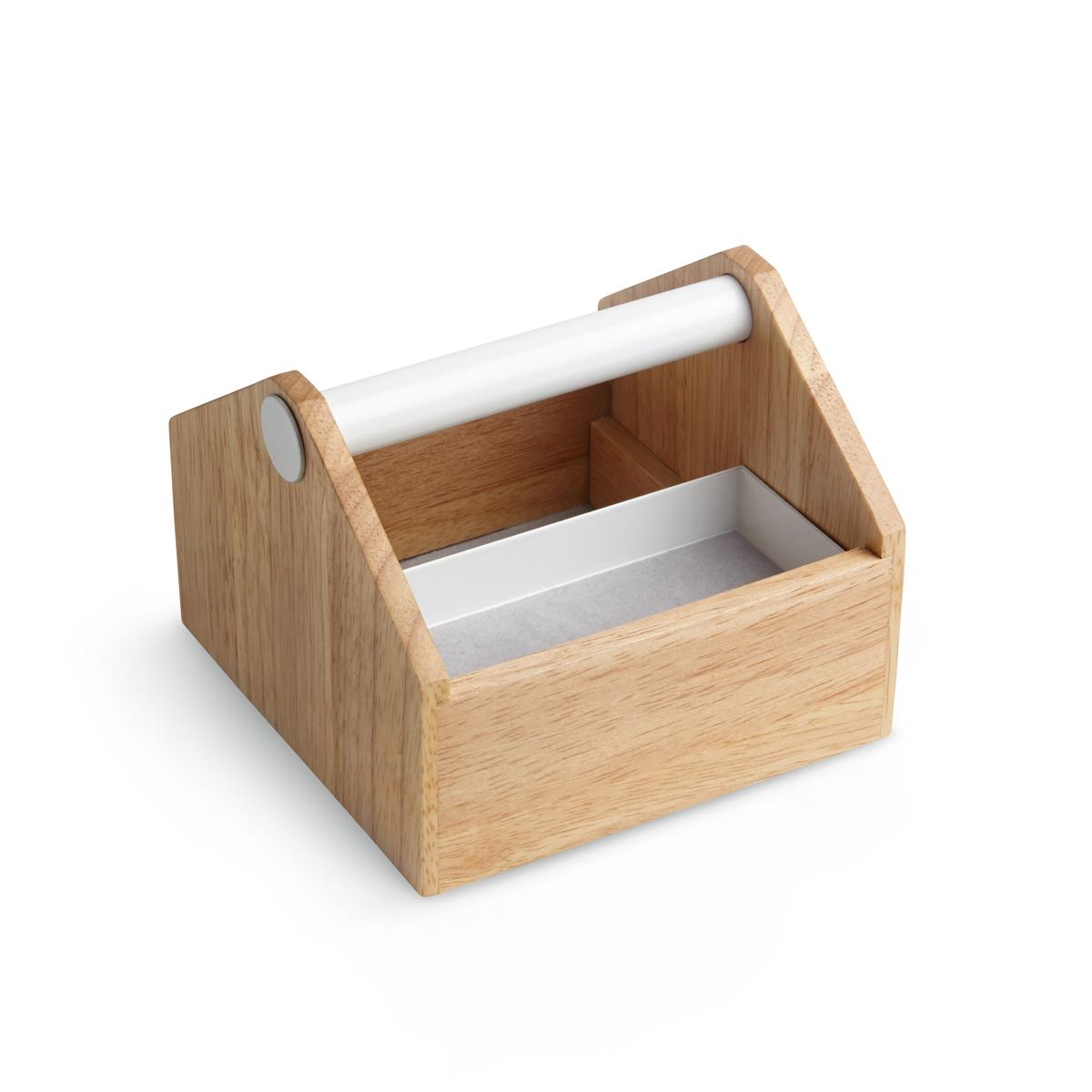 Шкатулка для украшений Umbra Toto, малая290238-668Что общего у ящика для инструментов и бижутерии? Вдохновившись ящиком плотника, дизайнеры создали вот такую шкатулку-органайзер для разборчивых модниц, оставив все только лучшее и удобное. Эргономичная ручка для переноски, выдвигающиеся ящички и отделения разного размера - удобно для хранения косметики, украшений и даже офисных принадлежностей.