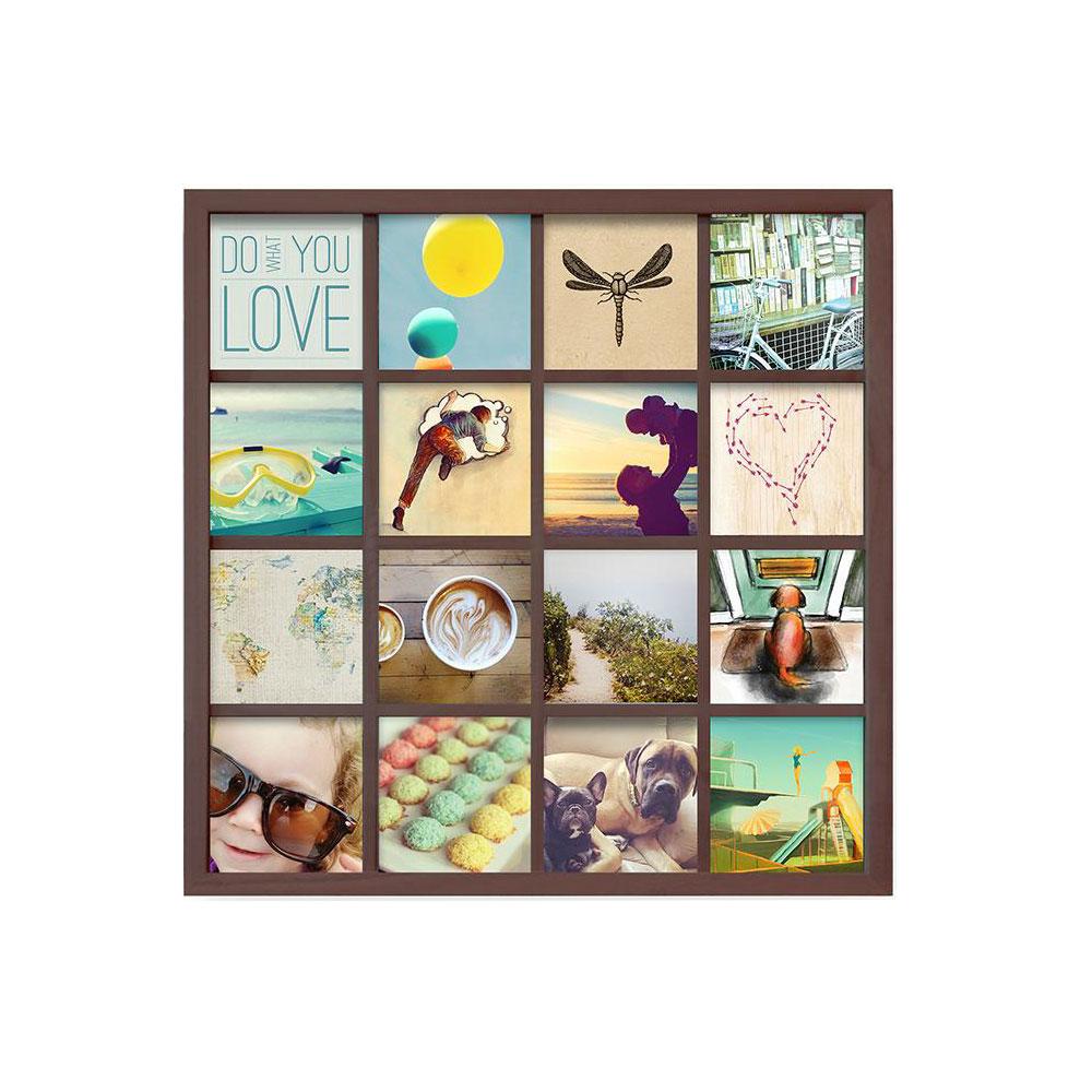 Панно для фотографий Umbra Gridart, цвет: шоколадный311030-746Одно фото - это ценное воспоминание об отпуске или о счастливом моменте в кругу близких. Но для воссоздания атмосферы больше - лучше! Панно для 16 фотографий поможет вам создать коллаж из самых счастливых жизненных моментов. Можно использовать фотографии, открытки, письма, вырезки из журналов и карты - настоящий полет фантазии! Размер каждого фото - 10,2 х 10,2 см (просто обрежьте стандартные фотографии и поместите их под стекло).