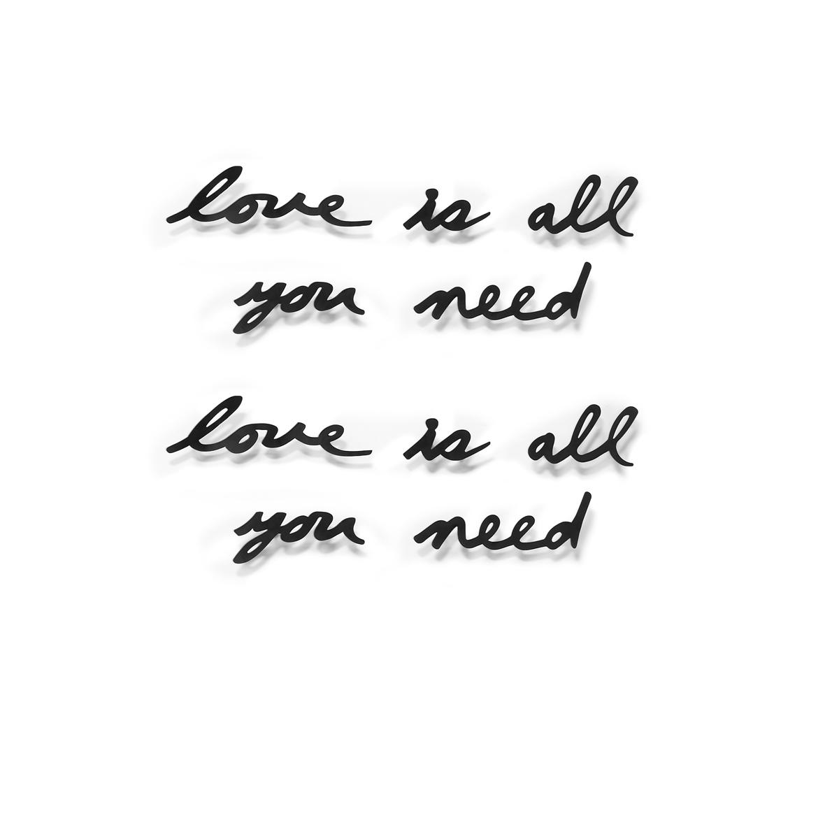 Украшение на стену Umbra Love is all you need470580-040Декоративная настенная надпись Love is all you need - это строчка из знаменитой песни The Beatles. Любовь - все, что вам нужно, все, что вам нужно - любовь. Не забывайте об этом: просто повесьте этот вдохновляющий декор на стену, пусть напоминает о самых важных и прекрасных чувствах. Каждое слово крепится отдельно, так что можно расположить их на стене в произвольном порядке (крепеж в комплекте).