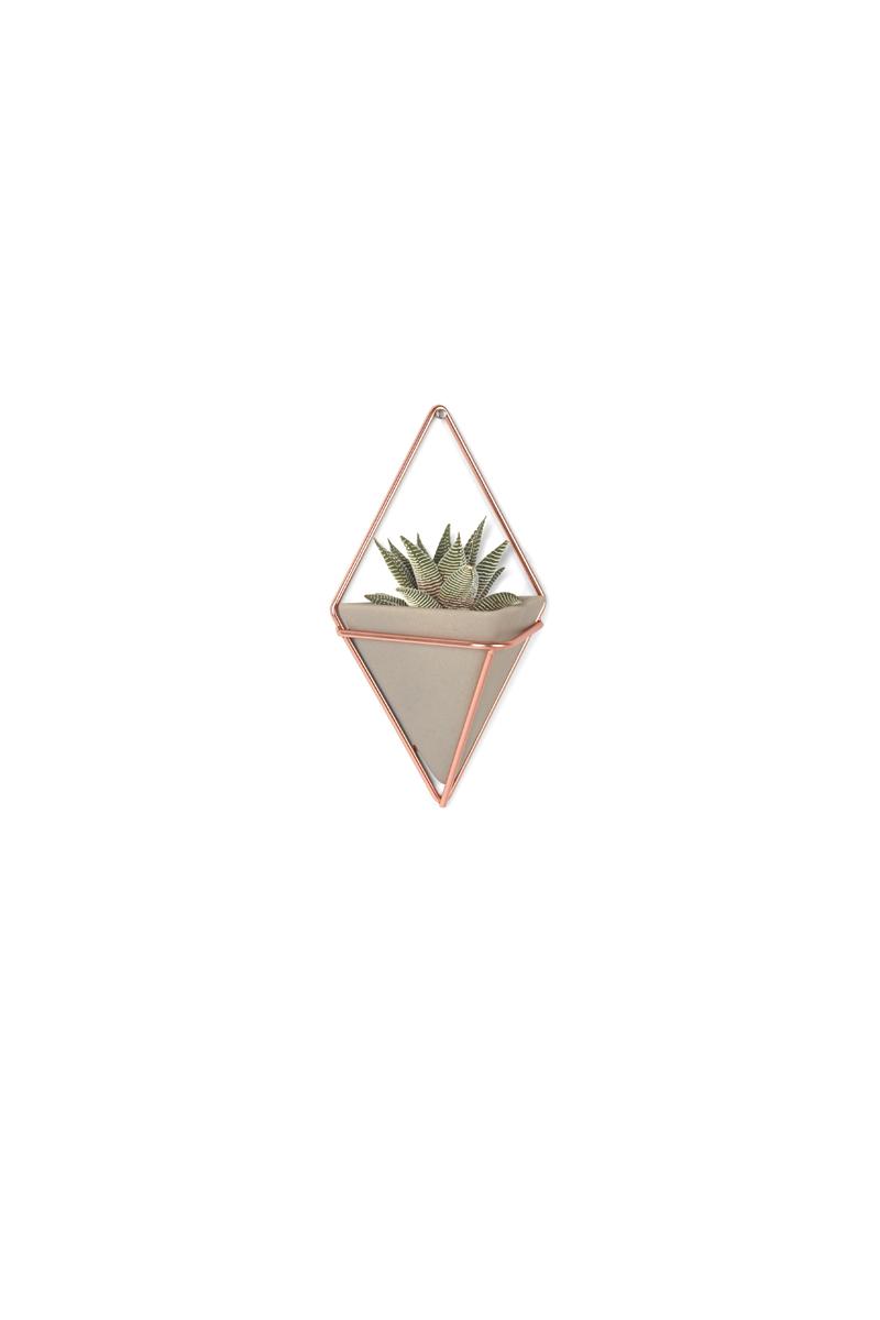 Украшение на стену Umbra Trigg, цвет: металлик, 2 шт470753-633Стильный и функциональный настенный декор со строгими геометрическими формами. Представляет собой треугольную вазу из бетона в медном ромбовидном обрамлении. Может быть использован в качестве кашпо для цветов или как органайзер для мелочей. Две или более вазы могут формировать геометрические узорные композиции. В набор входит 2 штуки. Дизайн: Moe Takemura