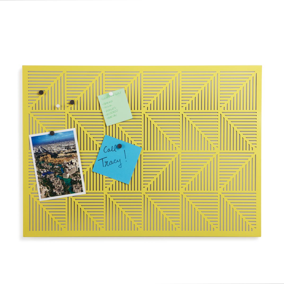 Украшение на стену Umbra Trigon, цвет: желтый470790-438Строгие геометрические формы не ограничивают воображение, а наоборот, вдохновляют на творчество и создание неповторимых интерьеров. Металлические узоры на этой доске не только складываются в интересную картинку, но и удобны для использования с магнитами и кнопками. Повесьте ее горизонтально или вертикально и крепите фотографии, записки, рисунки и напоминалки. В наборе 12 кнопок и 12 магнитов. Отличный декор для офиса и кабинета.