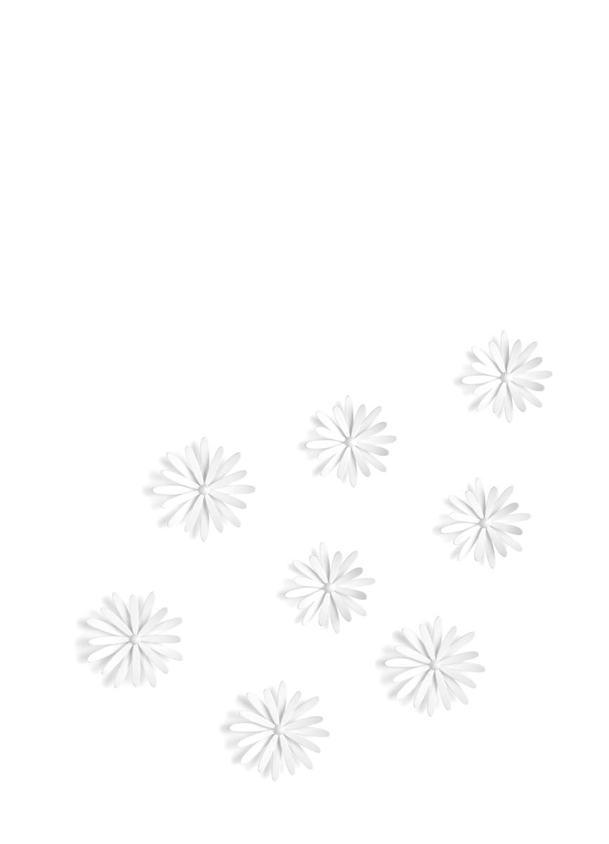Декоративное украшение Umbra Delica, настенное, 8 шт472012-660Пышные цветы, на создание которых дизайнера вдохновили садовые маргаритки. В набор входят 8 цветков трех разных размеров. Крепятся на стену при помощи специальной липучки 3M Command. Размер цветов: диаметр 12.1 x 2.8 см, диаметр 10.8 x 3.2 см и диаметр 9.1 см x 3.1 см.