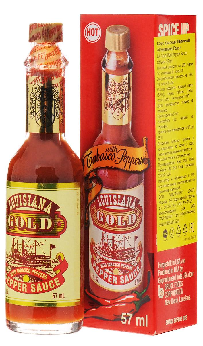 Louisiana Gold соус красный перечный, 57 мл2233323Соус Louisiana Gold - острый красный перечный соус, лучшая приправа к блюдам из мяса, птицы, морепродуктов. Может использоваться как ингредиент для приготовления, маринад.