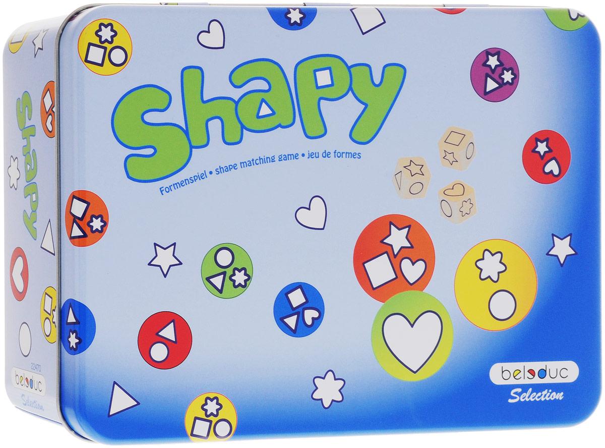 Beleduc Обучающая игра Shapy22470Обучающая игра Beleduc Shapy - это легендарная игра, направленная на развитие зрительного восприятия и концентрацию внимания. Игроки одновременно кидают кубики и все вместе ищут карточки с выпавшими на кубиках фигурами. Разные варианты ведения игры делают ее очень занимательной даже для взрослых игроков. В комплекте - игровое поле, 3 игральных кубика, набор карточек.