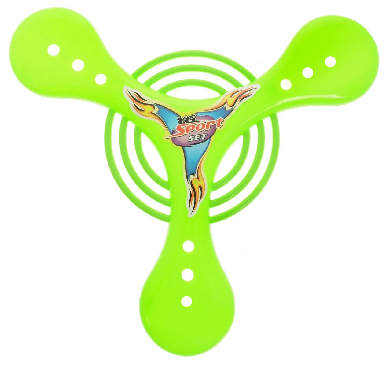 YG Sport Бумеранг цвет салатовый YG05JYG05JБумеранг YG Sport имеет удивительное свойство - он всегда возвращается в точку броска! Удивите своих друзей и близких! Бумеранг прекрасно развивает ловкость, координацию движений и быстроту реакции. А еще, если проявить фантазию, с бумерангом можно придумать различные подвижные игры! Игрушка изготовлена из качественного и безопасного пластика.