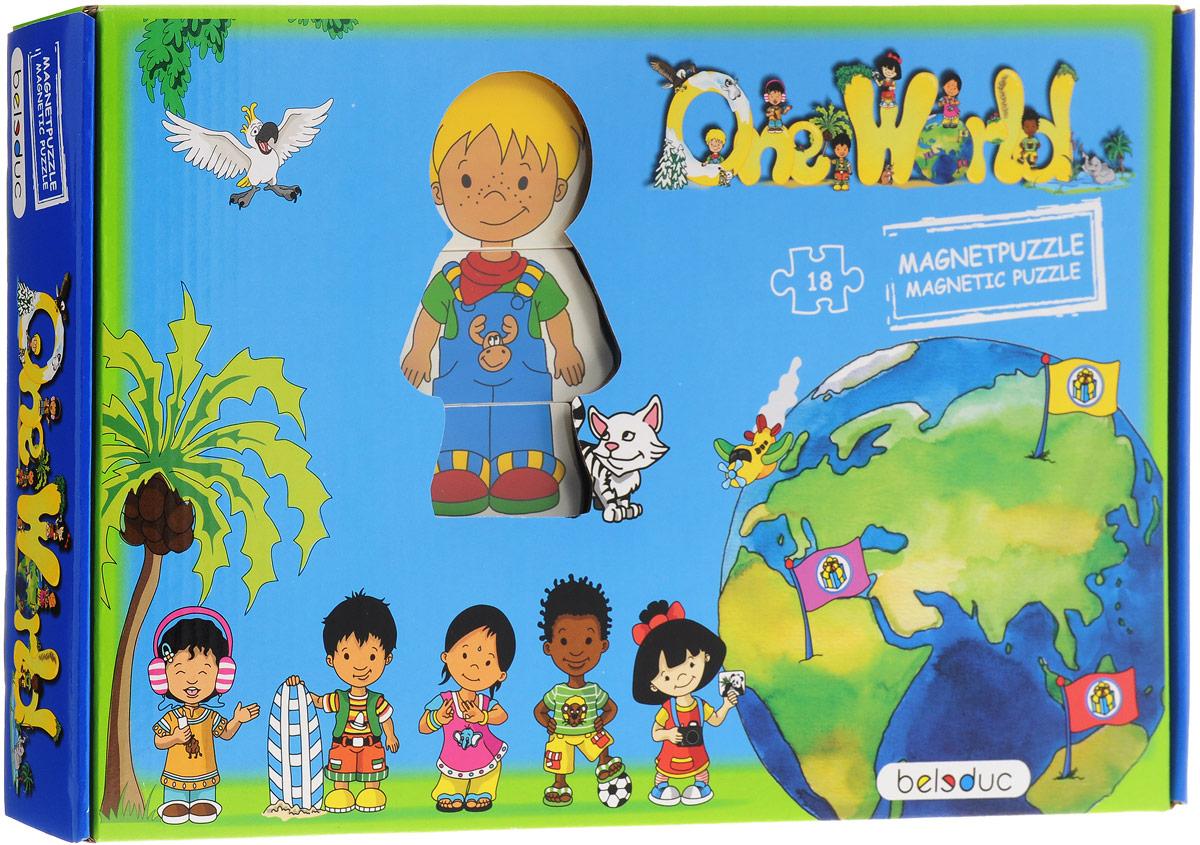 Beleduc Пазл для малышей Один большой мир 1101011010Пазл для малышей Beleduc Один большой мир - это развивающая игра для малышей. Элементы пазла выполнены из экологически чистого, безопасного для малышей материала - натурального дерева. С помощью деталей пазла можно собрать фигурки детей в национальных одеждах. Части каждой фигурки крепятся друг с другом при помощи магнитов. Детали разных фигурок можно менять между собой, создавая таким образом совершенно новые фигурки. В процессе игры ребенок получает представление о людях различных национальностей, знакомится с другими культурами, развивает коммуникативные навыки.