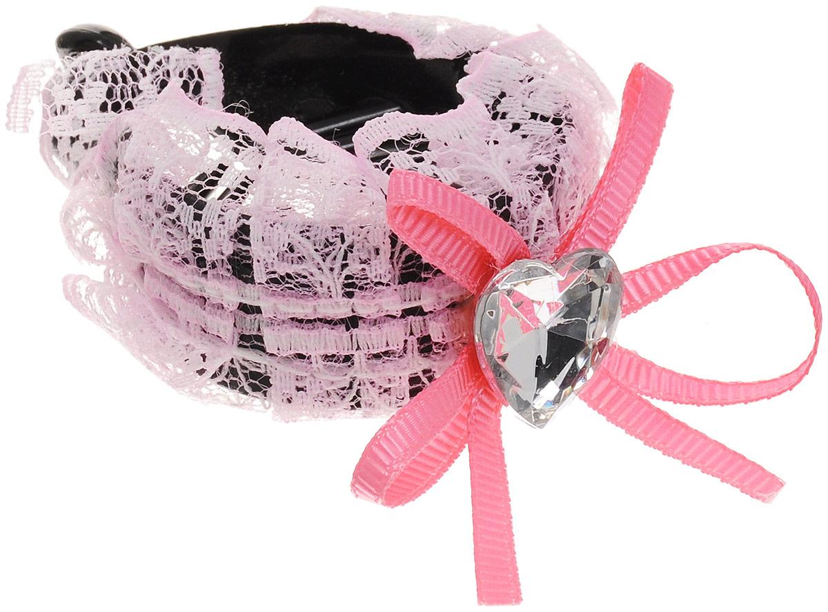 Зажим для волос Mitya Veselkov, цвет: светло-розовый. 1058-PINK-DAM1058-PINK-DAM_светло-розовыйСтильный зажим для волос Mitya Veselkov изготовлен из пластика, декорирован кружевной лентой и стразом в виде сердца.