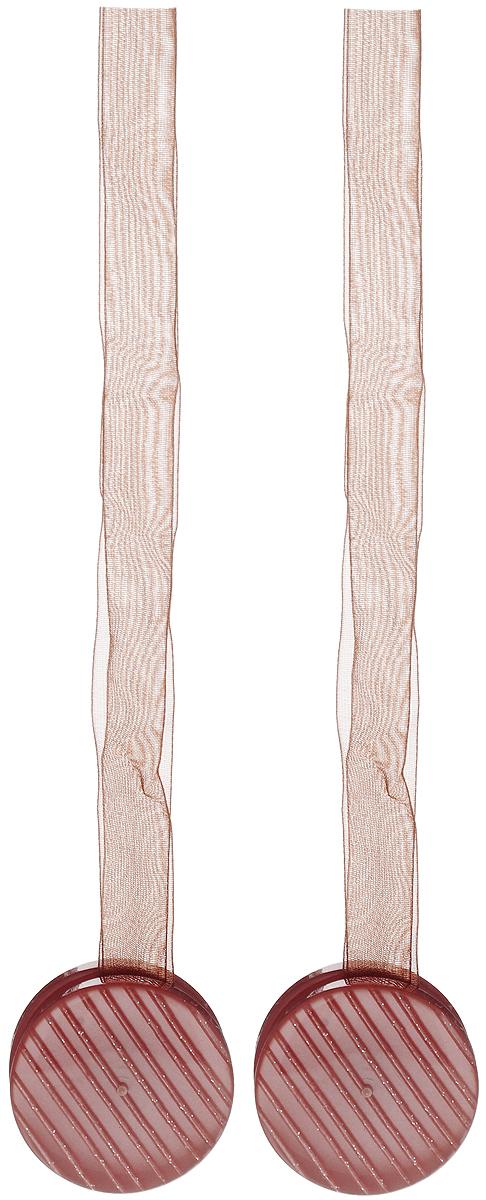 Подхват для штор TexRepublic Ajur. Lenta, на магнитах, цвет: коричневый, диаметр 4 см, 2 шт. 7901279012Изящный подхват для штор TexRepublic Ajur. Lenta, выполненный из пластика и текстиля, можно использовать как держатель для штор или для формирования декоративных складок на ткани. С его помощью можно зафиксировать шторы или скрепить их, придать им требуемое положение, сделать симметричные складки. Благодаря магнитам подхват легко надевается и снимается. Подхват для штор является универсальным изделием, которое превосходно подойдет для любых видов штор. Подхваты придадут шторам восхитительный, стильный внешний вид и добавят уют в интерьер помещения. Длина подхвата: 36 см. Диаметр: 4 см. Количество: 2 шт.