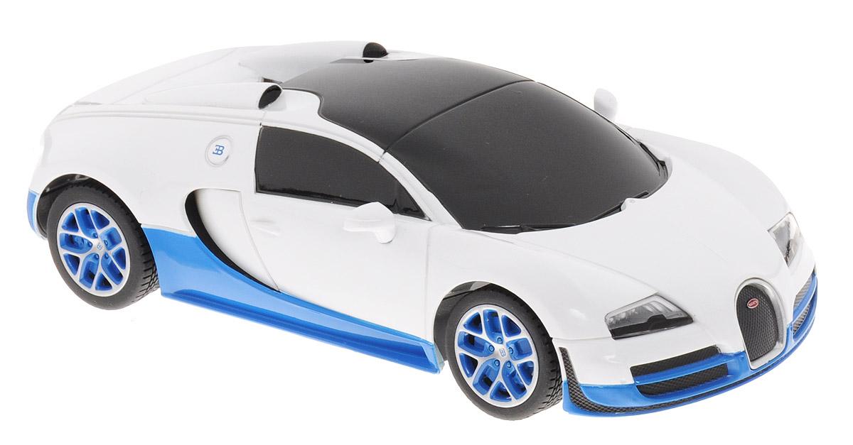 Rastar Радиоуправляемая модель Bugatti Veyron 16.4 Grand Sport Vitesse цвет белый синий масштаб 1:2447000_белый/синийРадиоуправляемая модель Rastar Bugatti Veyron 16.4 Grand Sport Vitesse станет отличным подарком любому мальчику! Все дети хотят иметь в наборе своих игрушек ослепительные, невероятные и крутые автомобили на радиоуправлении. Тем более, если это автомобиль известной марки с проработкой всех деталей, удивляющий приятным качеством и видом. Одной из таких моделей является автомобиль на радиоуправлении Rastar Bugatti Veyron 16.4 Grand Sport Vitesse. Это точная копия настоящего авто в масштабе 1/24. Авто обладает неповторимым провокационным стилем и спортивным характером. Потрясающая маневренность, динамика и покладистость - отличительные качества этой модели. Возможные движения: вперед-назад, направо-налево. Пульт управления работает на частоте 27 MHz. Для работы машины необходимо купить 3 батарейки напряжением 1,5V типа АА (не входят в комплект). Для работы пульта управления необходимо купить 2 батарейки напряжением 1,5V типа АА (не входит в комплект).