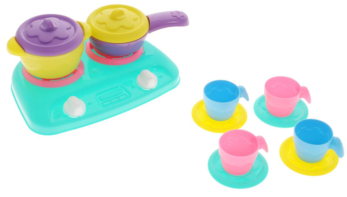 Нордпласт Игрушечный набор посуды Шкода цвет плиты бирюзовый