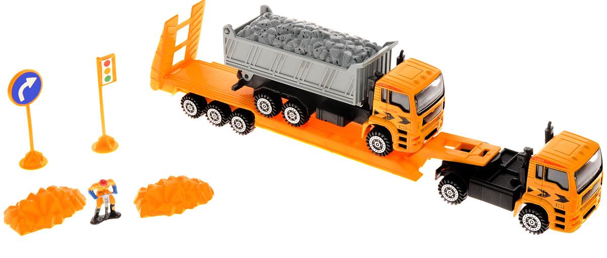 Junfa Toys Автовоз инерционный с самосвалом F11_камаз 2F11_камаз 2Инерционный автовоз с самосвалом Junfa Toys позволит ребенку организовать импровизированную стройку. Высокая детализация машинок, выполненных в масштабе 1:50 к настоящей технике, сделает игру с ними еще интересней. Кабины машинок изготовлены из металла, кузов и колеса - из пластика. В комплект также входит фигурка строителя, два дорожных знака, две кучи песка. Кузов самосвала поднимается, пандус автовоза опускается, полуприцеп отсоединяется. Автовоз и самосвал оснащены инерционным механизмом. Достаточно немного отвести машинки назад, а затем отпустить, и они быстро поедут вперед. Сделайте вашему ребенку такой замечательный подарок!