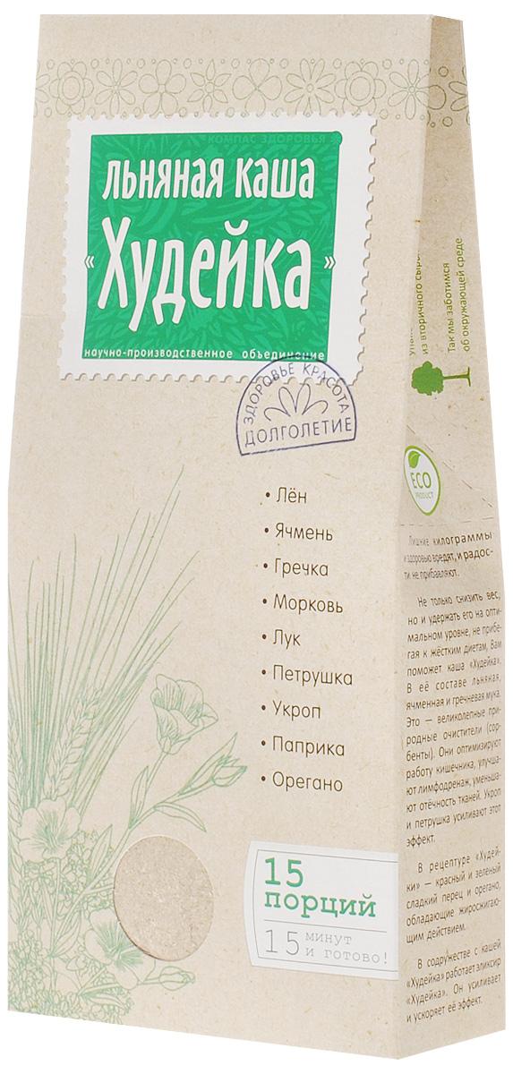"""Каша льняная """"Худейка"""" - это диетический и полезный продукт. Разработана специально для женского организма. Снижает избыточный вес, нормализует гормональный баланс. Улучшает цвет лица и помогает сохранить молодость. Основа льняной каши - особое сочетание ячменя, гречки, льняной муки и салатных растений (петрушки и укропа). При регулярном употреблении каша """"Худейка"""" оздоравливает организм, улучшает пищеварение и работу кишечника. Растительная клетчатка помогает обеспечить клетки тела питанием и очищает от шлаков. Льняная каша увеличивается в желудке и вызывает чувство насыщения гораздо быстрее по сравнению с привычными сладостями или печеньем. В результате голод отступает гораздо быстрее, а избыточный вес естественным образом уменьшается. Лён и ячмень обволакивают внутреннюю поверхность кишечника, уменьшают болезненные раздражения желудка. Эти полезные растения также помогают преодолеть усталость, восстановить организм после ..."""