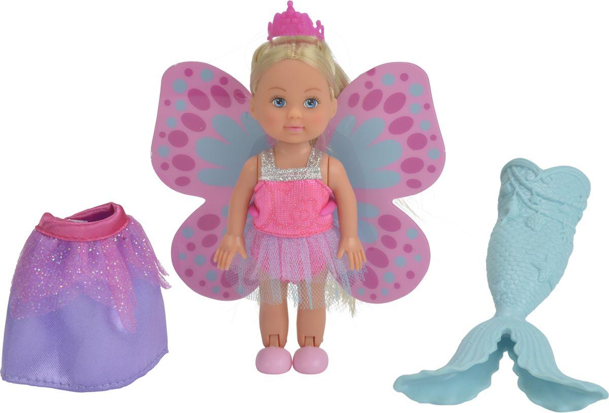 Simba Мини-кукла Еви Русалочка Фея Принцесса5732818Мини-кукла Еви от компании Simba порадует любую девочку и надолго увлечет ее. В этом наборе представлена куколка, которая может перевоплотиться сразу в три ярких образа. В первом Еви напомнит малышкам принцессу из сказок в красивом наряде. Во втором Еви станет феей с изящными крылышками за спиной. А в третьем напомнит русалочку из подводного царства с ярким хвостом. Для образа принцессы в наборе имеется длинная сиреневая юбка и розовая корона. Чтобы превратиться в фею, куколке надо прикрепить красивые розовые крылышки. Для образа русалки, Еви может примерить нежно-голубой хвостик с плавниками. В каждом образе Еви просто неотразима! Руки, ноги и голова куклы подвижны, благодаря чему ей можно придавать разнообразные позы. Игры с куклой способствуют эмоциональному развитию, помогают формировать воображение и художественный вкус, а также разовьют в вашей малышке чувство ответственности и заботы. Великолепное качество исполнения делают эту...
