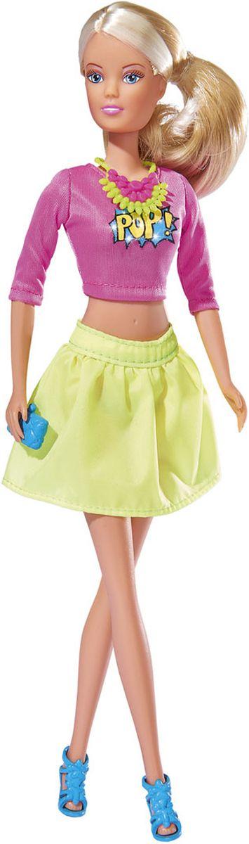 Simba Кукла Штеффи Pop Art цвет одежды розовый желтый5736215Кукла Simba Штеффи. Pop Art - замечательная игрушка, которая станет отличным подарком для современных девочек. На кукле модный наряд, состоящий из укороченного топа розового цвета с ярким принтом и желтой юбки-клеш. На ногах у Штеффи - голубые босоножки на высоких каблуках. Стильный образ дополняет оригинальное салатово-розовое колье. В руках модница держит миниатюрный голубой клатч. Аксессуары на куколке смотрятся очень оригинально и стильно. Длинные светлые волосы куколки можно причесывать, укладывать и делать разнообразные прически. Кукла изготовлена из прочного и безопасного материала. Голова, руки и ноги подвижны, что позволяет придавать ей разнообразные позы. Благодаря играм с куклой, ваша малышка сможет развить фантазию и любознательность, овладеть навыками общения и научиться ответственности, а дополнительные аксессуары сделают игру еще увлекательнее. Порадуйте свою принцессу таким прекрасным подарком!