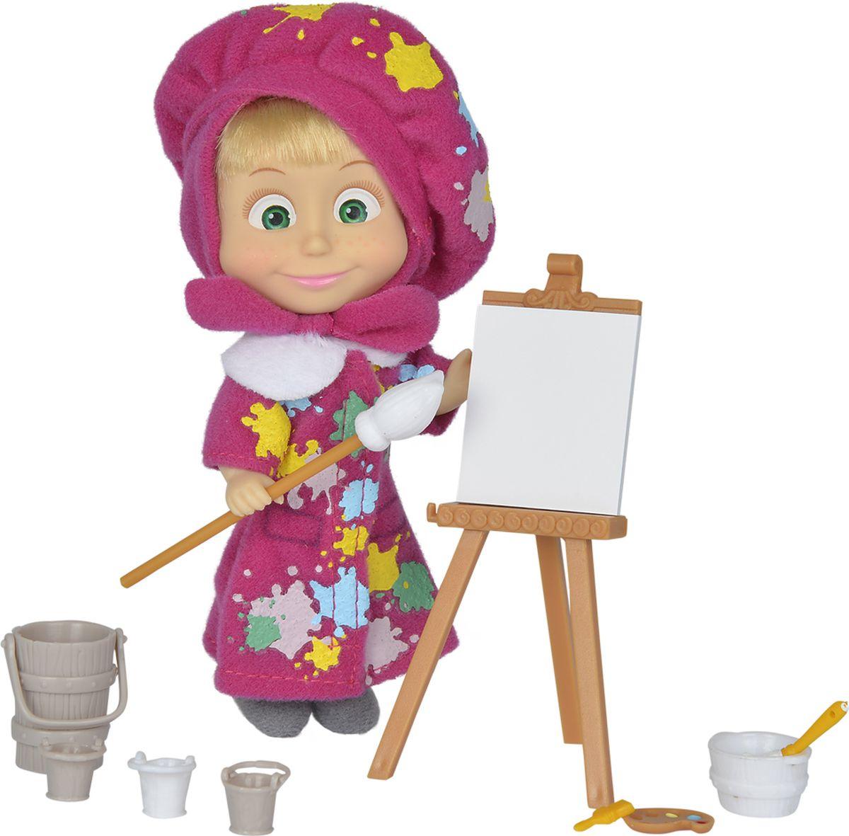 Simba Игровой набор Маша-художница9302047, 109302047029Игровой набор Simba Маша-художница порадует любую девочку и надолго увлечет ее. В комплект входит мини-куколка Маша и набор художественных принадлежностей для создания красивой картины. Маша в бордовом пальто, платочке и берете. На ножках у куколки текстильные сапожки. Ребенок сможет придумать интересный сюжет о том, как Маша так упорно рисовала свою картинку, что даже ее яркий костюм оказался заляпан красками, но девочка все равно останется довольна результатом, ведь на ее личике сияет добрая и веселая улыбка. Руки, ноги и голова куклы подвижны, благодаря чему ей можно придавать разнообразные позы. Игры с куклой способствуют эмоциональному развитию, помогают формировать воображение и художественный вкус, а также разовьют в вашей малышке чувство ответственности и заботы. Великолепное качество исполнения делают эту куколку чудесным подарком к любому празднику.