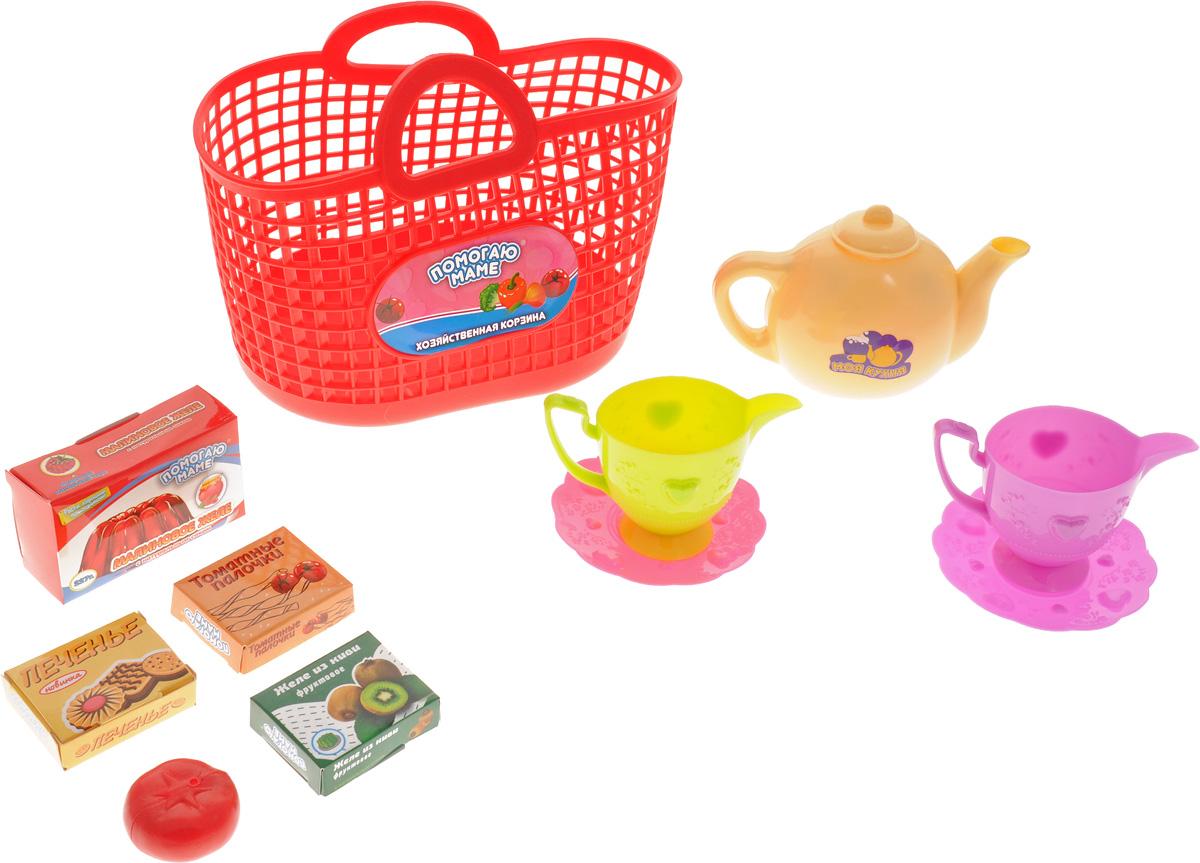 ABtoys Игрушечный набор посуды в корзине 10 предметов цвет красный