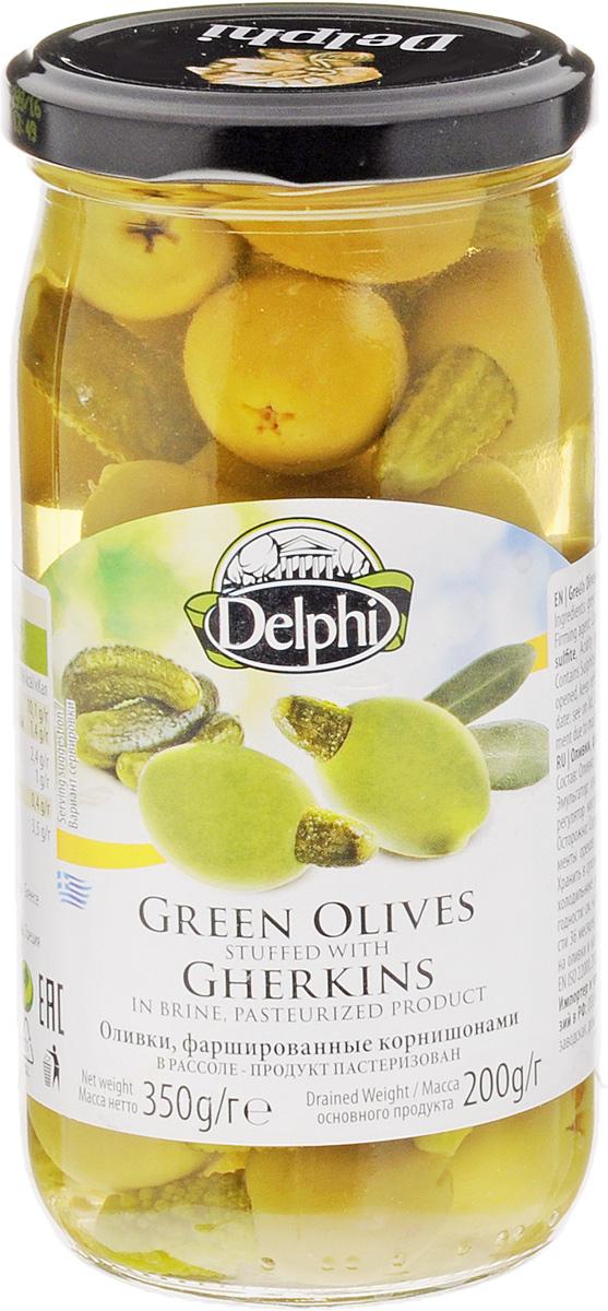 Delphi Оливки фаршированные корнишонами, 350 г51.0059,1Крупные и сочные, фаршированные корнишонами, оливки Delphi станут превосходной закуской к любому случаю. Крупные, собранные вручную оливки маринуются по традиционному греческому рецепту. Отличаются освежающим ароматом и насыщенным кисло-сладким вкусом.