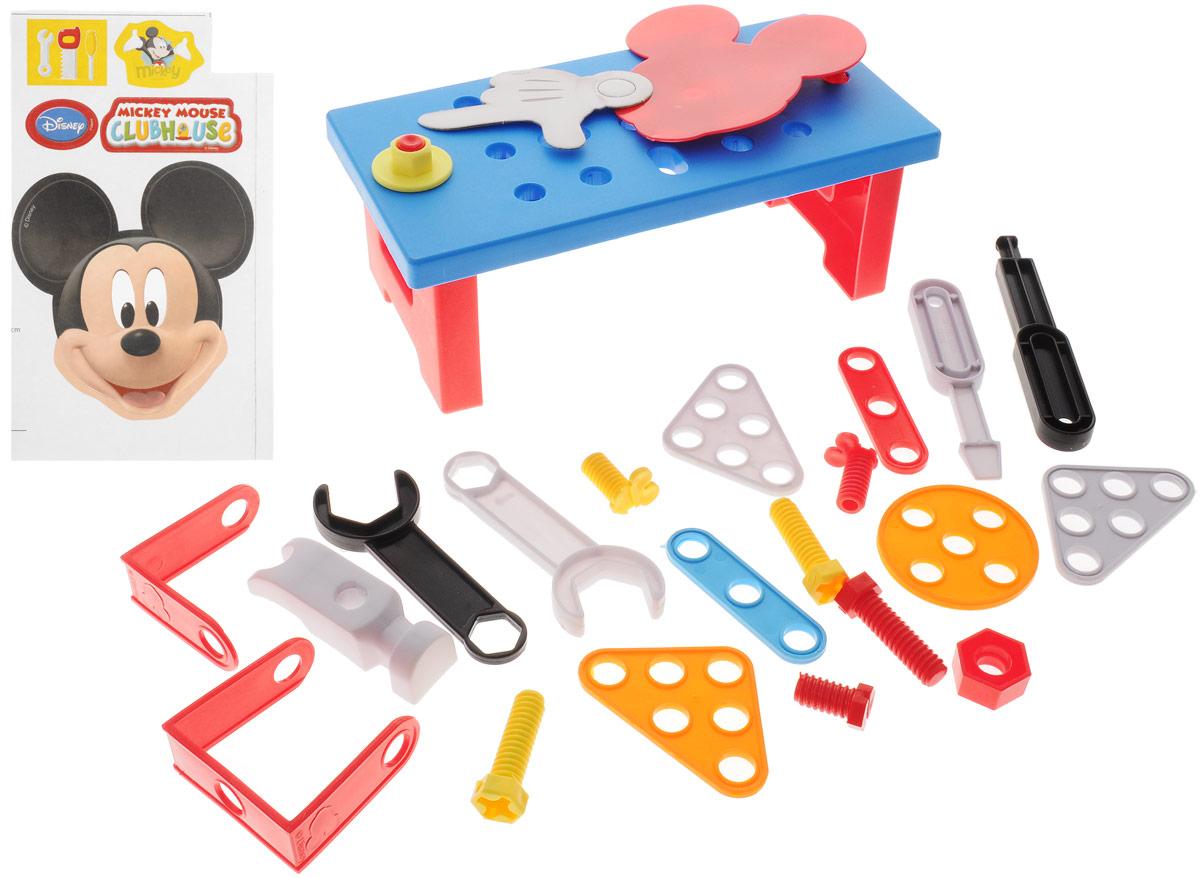 Bildo Игровой набор инструментов с тележкой Микки МаусB 8403Замечательный набор игрушечных инструментов с тележкой Микки Маус от Bildo непременно порадует юных мастеров. В наборе есть верстак, 2 болта, гаечные ключи, отвертка, молоток, детали для сборки, лист с наклейками. Все элементы набора помещаются в тележку с колесиками, благодаря которой малыш сможет постоянно возить их за собой.