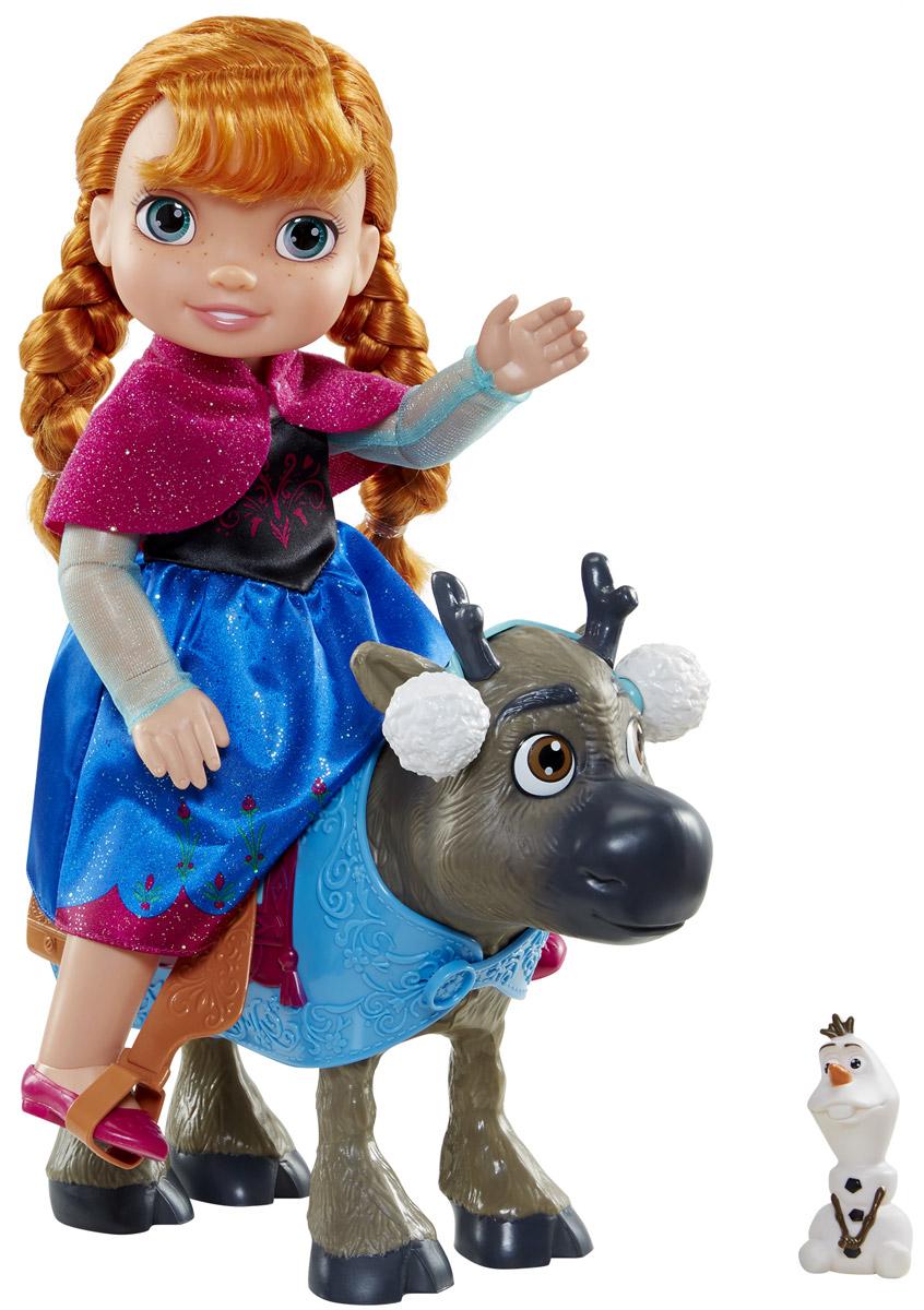 Disney Frozen Игровой набор с мини-куклой Анна и Свен767000_98981Игровой набор Disney Princess Анна и Свен поможет вашей маленькой принцессе окунуться в сказочный мир. Набор содержит очаровательную куколку принцессу Анну и оленя Свена, героев замечательного мультфильма Холодное сердце. Кукла выполнена из качественного пластика и одета в черно-синее платье с блестками. На ножках куколки - бордовые туфельки. У куклы прекрасные рыжие локоны, которые можно расчесывать и заплетать. Сверкающее платье выглядит совсем как в мультфильме. На олене накинута голубая попона с седлом. Для Свена имеются белые наушники. Дополняет набор маленькая фигурка забавного снеговика Олафа. У куколки несколько точек артикуляции, благодаря чему, она может удобно сидеть на олене, сгибая ножки. Ваша малышка с удовольствием будет играть с набором, придумывая различные истории.