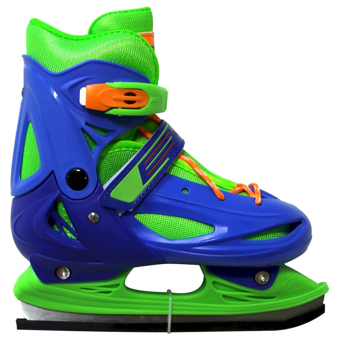 Коньки раздвижные Ice Blade Casey, цвет: синий, зеленый, оранжевый. УТ-00009125. Размер S (30/33)УТ-00009125Коньки раздвижные Casey - это классические раздвижные коньки от известного бренда Ice Blade, которые предназначены для детей и подростков, а также для тех, кто делает первые шаги в катании на льду. Коньки имеют яркий молодежный дизайн, теплый внутренний сапожок, удобная трехуровневая система фиксации ноги, легкая смена размера, надежная защита пятки и носка - все это бесспорные преимущества модели. Коньки поставляются с заводской заточкой лезвия, что позволяет сразу приступить к катанию и не тратить денег на заточку. Предназначены для использования на открытом и закрытом льду. Характеристики: Тип фиксации: клипса с фиксатором, липучка, шнурки Материал ботинка: морозостойкий пластик Внутренняя отделка: теплый текстильный материал Лезвие: выполнено из высокоуглеродистой стали с покрытием из никеля Упаковка: удобная сумка